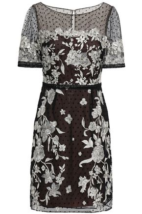 MARCHESA NOTTE Flocked and embroidered tulle mini dress