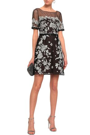 MARCHESA NOTTE Embroidered flocked tulle mini dress