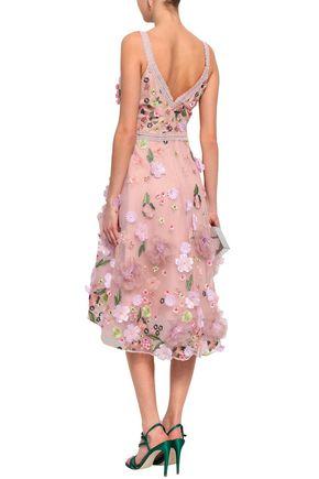 MARCHESA NOTTE Lace-trimmed embellished tulle dress