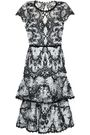 MARCHESA NOTTE Tiered embroidered lace dress