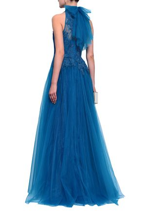 BADGLEY MISCHKA Bow-embellished corded lace and tulle gown