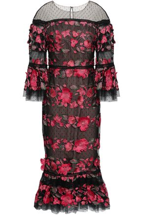 MARCHESA NOTTE Floral-appliquéd embroidered point d'esprit midi dress