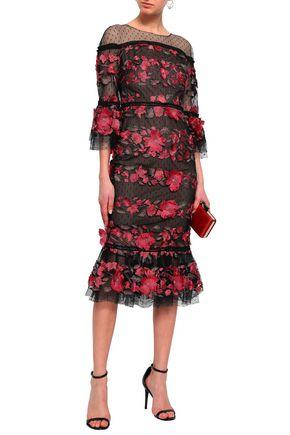 c49ad9b2 MARCHESA NOTTE Floral-appliquéd embroidered point d'esprit midi dress
