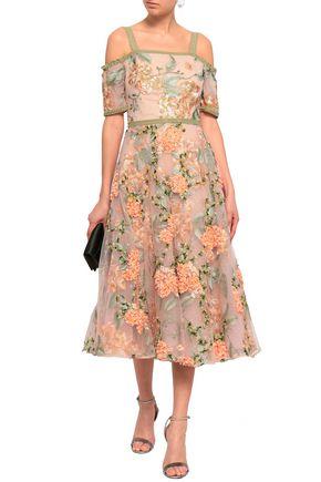 aec5cfd59a9 MARCHESA NOTTE Cold-shoulder embellished tulle midi dress