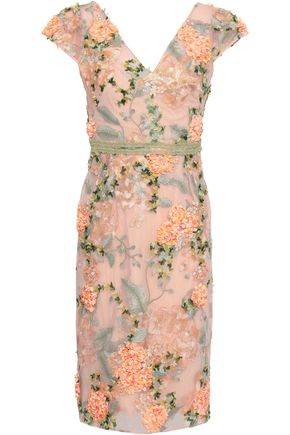 MARCHESA NOTTE Floral-appliquéd embroidered tulle dress