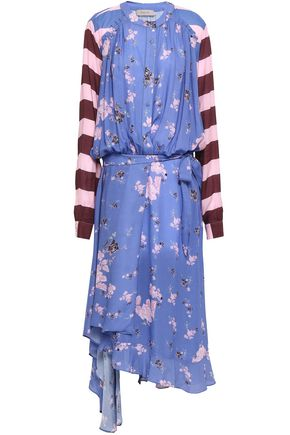 PREEN LINE Draped printed crepe midi dress