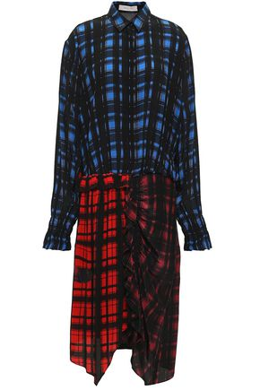 PREEN LINE Paneled checked crepe de chine shirt dress