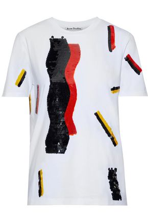 ACNE STUDIOS Bjarne sequin-embellished printed cotton-jersey T-shirt