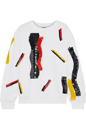 ACNE STUDIOS Roni sequin-embellished printed French cotton-terry sweatshirt