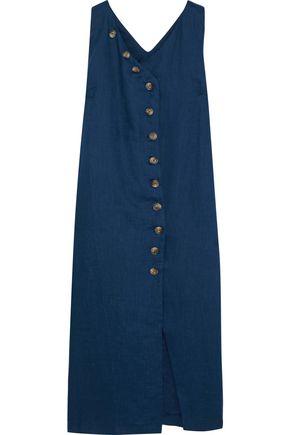 IRIS & INK Helena button-detailed linen midi dress