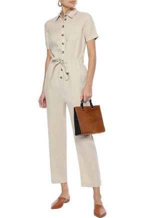 IRIS & INK Eppie cropped tie-front linen jumpsuit