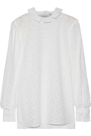 CHRISTOPHER KANE Cutout broderie anglaise cotton blouse