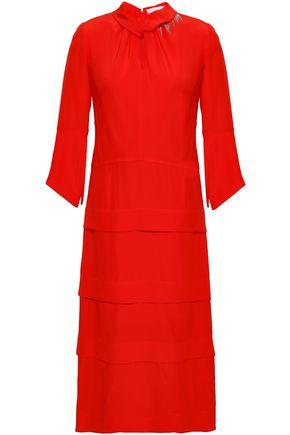 VICTORIA BECKHAM Embellished silk-georgette midi dress