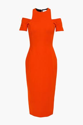VICTORIA BECKHAM Cold-shoulder stretch-ponte midi dress