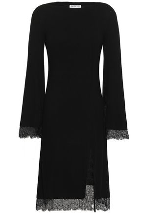 ADEAM Lace-trimmed ribbed-knit silk dress