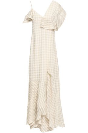 ADEAM Asymmetric gingham seersucker maxi dress