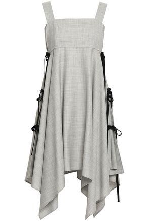 ADEAM Velvet-trimmed wool-blend dress