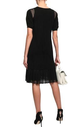 ADEAM Corded lace-paneled knitted dress