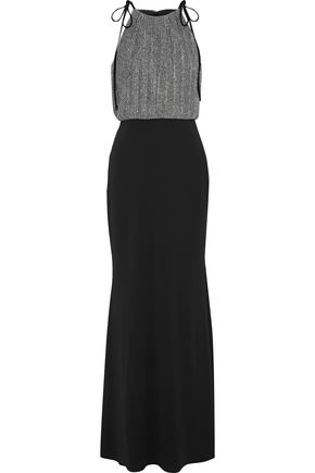 BADGLEY MISCHKA Metallic ribbed-knit and stretch-crepe gown