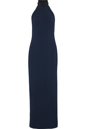 BADGLEY MISCHKA Stretch-crepe halterneck gown