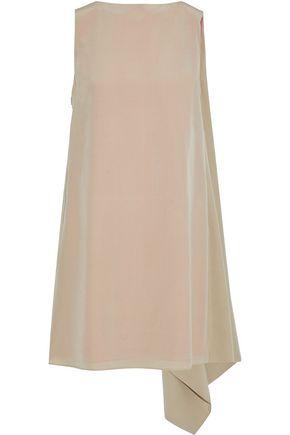 VALENTINO Asymmetric draped silk-crepe mini dress