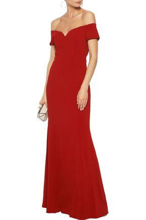 BADGLEY MISCHKA Off-the-shoulder stretch-cady gown