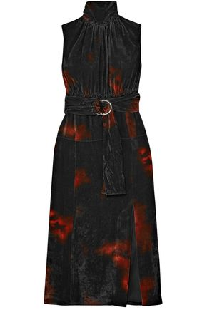 ALTUZARRA Indira belted tie-dyed velvet midi dress