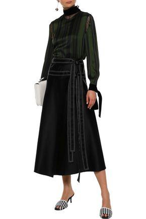 ADEAM Velvet-trimmed striped satin blouse