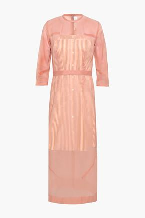 VICTORIA BECKHAM Cotton-blend poplin and chiffon midi dress