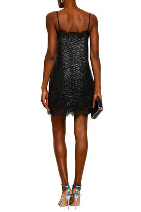 ROBERT RODRIGUEZ Chantilly lace-trimmed sequined jersey mini slip dress