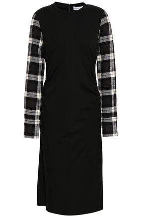 ROBERT RODRIGUEZ Checked cotton-blend flannel and jersey dress