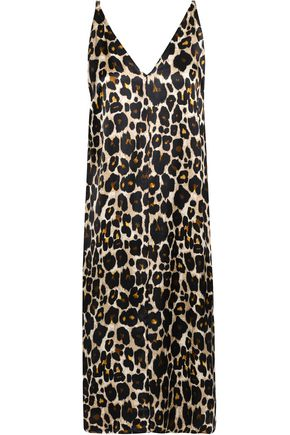 ROBERT RODRIGUEZ Leopard-print satin slip dress