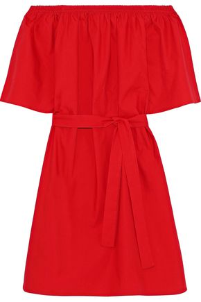 IRIS & INK Shelly off-the-shoulder belted cotton-poplin dress