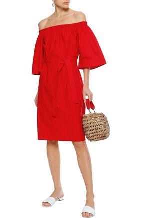 IRIS & INK Shelly off-the-shoulder belted cotton-poplin dress