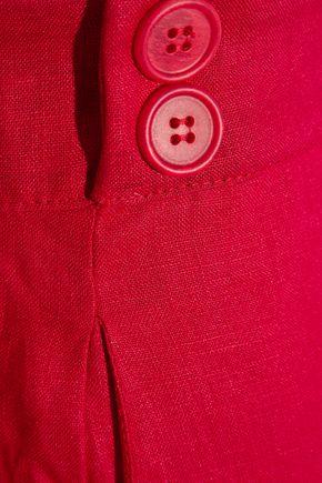 IRIS & INK ボタン付き プリーツ入り リネン ショートパンツ