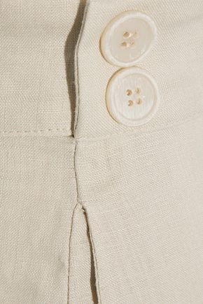 IRIS & INK Alana button-embellished pleated linen shorts