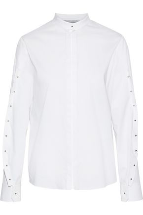 ESTEBAN CORTAZAR Button-detailed stretch-cotton poplin shirt