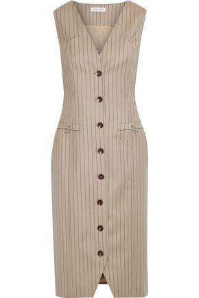 ALTUZARRA Pinstriped wool-blend felt dress