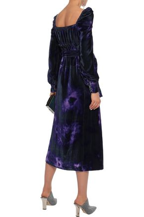 ALTUZARRA Adrienne gathered printed velvet midi dress