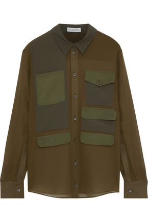 ALTUZARRA Crepe de chine-paneled silk-chiffon shirt