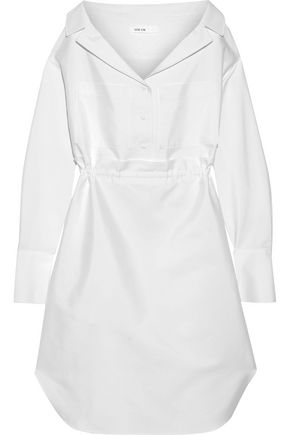 ADEAM Gathered cotton-blend shirt dress