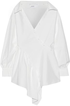 ADEAM Asymmetric cotton-blend poplin wrap shirt