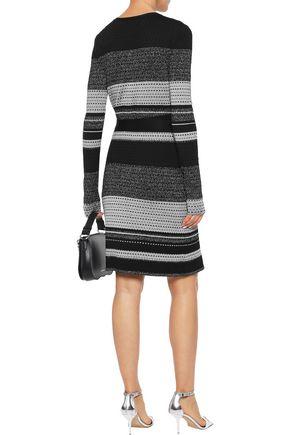 DIANE VON FURSTENBERG Metallic striped crochet-knit wrap dress