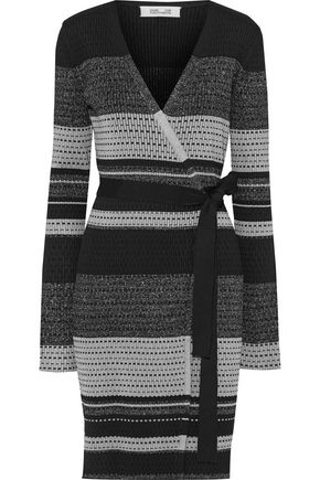 DIANE VON FURSTENBERG Metallic striped crochet-knit wrap dress