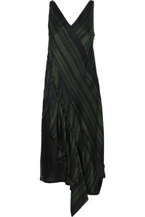 ADEAM Moga asymmetric lace-paneled striped satin midi dress