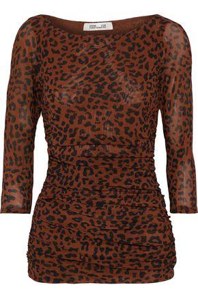 DIANE VON FURSTENBERG Ruched leopard-print stretch-mesh top