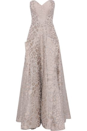 ZAC POSEN Strapless pleated leopard-jacquard gown