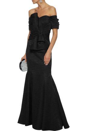 BADGLEY MISCHKA Off-the-shoulder bow-embellished jacquard gown