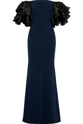 BADGLEY MISCHKA Off-the-shoulder ruffled satin-paneled cady gown