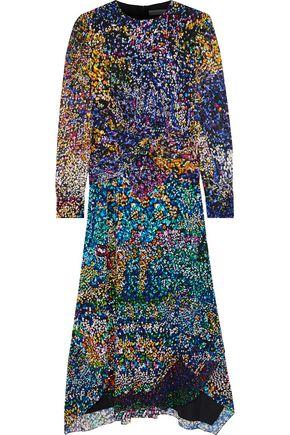 MARY KATRANTZOU Keats printed fil coupé chiffon midi dress